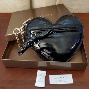 Gucci Patent Leather Black Heart Wristlet